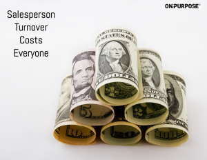 Salesperson turnover costs everyone. Rolled up paper money of various dollar amounts.