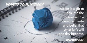 What's Your Vision? Vision is a gift to look into the future with a creative clarity and beliefe that what isn't will one day become. Lump of clay resting on drawing of a light bulb.